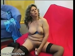 Sexy blonde milf gets to..