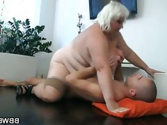 Blonde bbw rides a hard rod..
