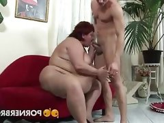 Obese mature pounded by a..