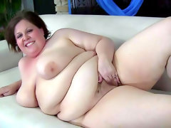 Fat slut goes solo and plays..