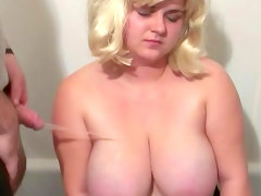Chubby blonde with big boobs..