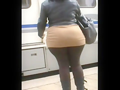 Brown tights bbw skirt booty..