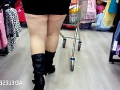 Upskirt round tesco by..
